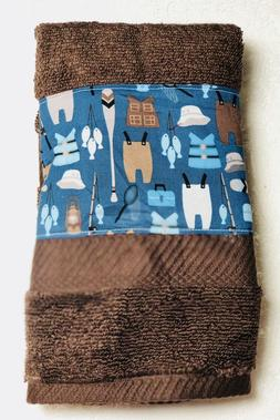 Fishing gear  - Kitchen  bath home decor hand towel - brown