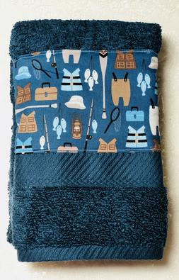 Fishing gear - Kitchen  bath home decor hand towel - blue