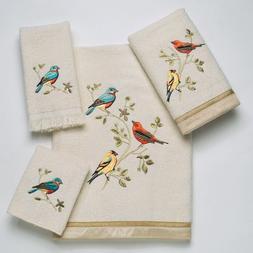 Avanti Linens Gilded Birds  Embroidered 4-Piece Decorative T