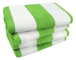 Kaufman- Green Cabana Stripe, Large Beach and Pool Towels- S