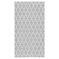 Crystal Emotion Grey and White Moroccan Tile Quatrefoil Patt