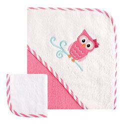Luvable Friends Hooded Towel and Washcloth - Owl