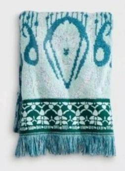 Opalhouse Ikat Border Soft Cotton Bath Towel Teal Pattern Ne