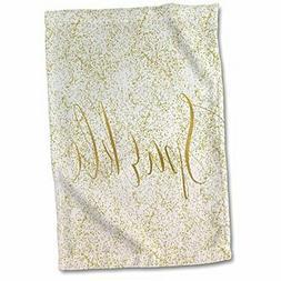 3dRose Image of White Gold XOXO Towel, 15 x 22