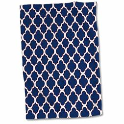 3D Rose Quatrefoil Pattern Navy Blue and White with Red Acce