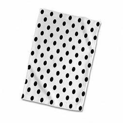 3D Rose Black and White Polka Dot Print twl_20402_1 Towel, 1