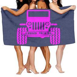 KAYERDELLE Unisex Jeep Girl Beach Towels Washcloths Bath Tow