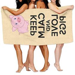 KAYERDELLE Unisex Keep Calm And Love Pigs Beach Towels Washc