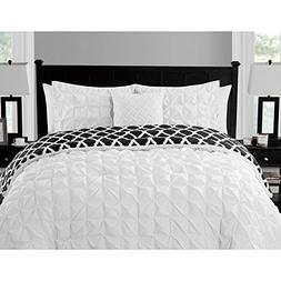 King Size Comforter Set Reversible in White / Black Pinched
