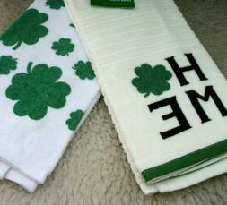 Kitchen Towels Shamrocks Irish Home Decor Bathroom Hand Set