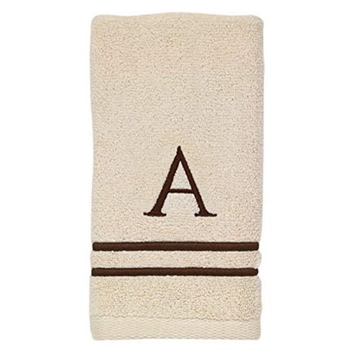 Avanti Block Monogram and Fingertip Towel Kit, Ivory/Mocha