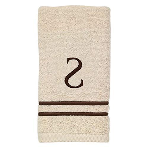 Avanti Linens Block Monogram and Fingertip Towel Ivory/Mocha