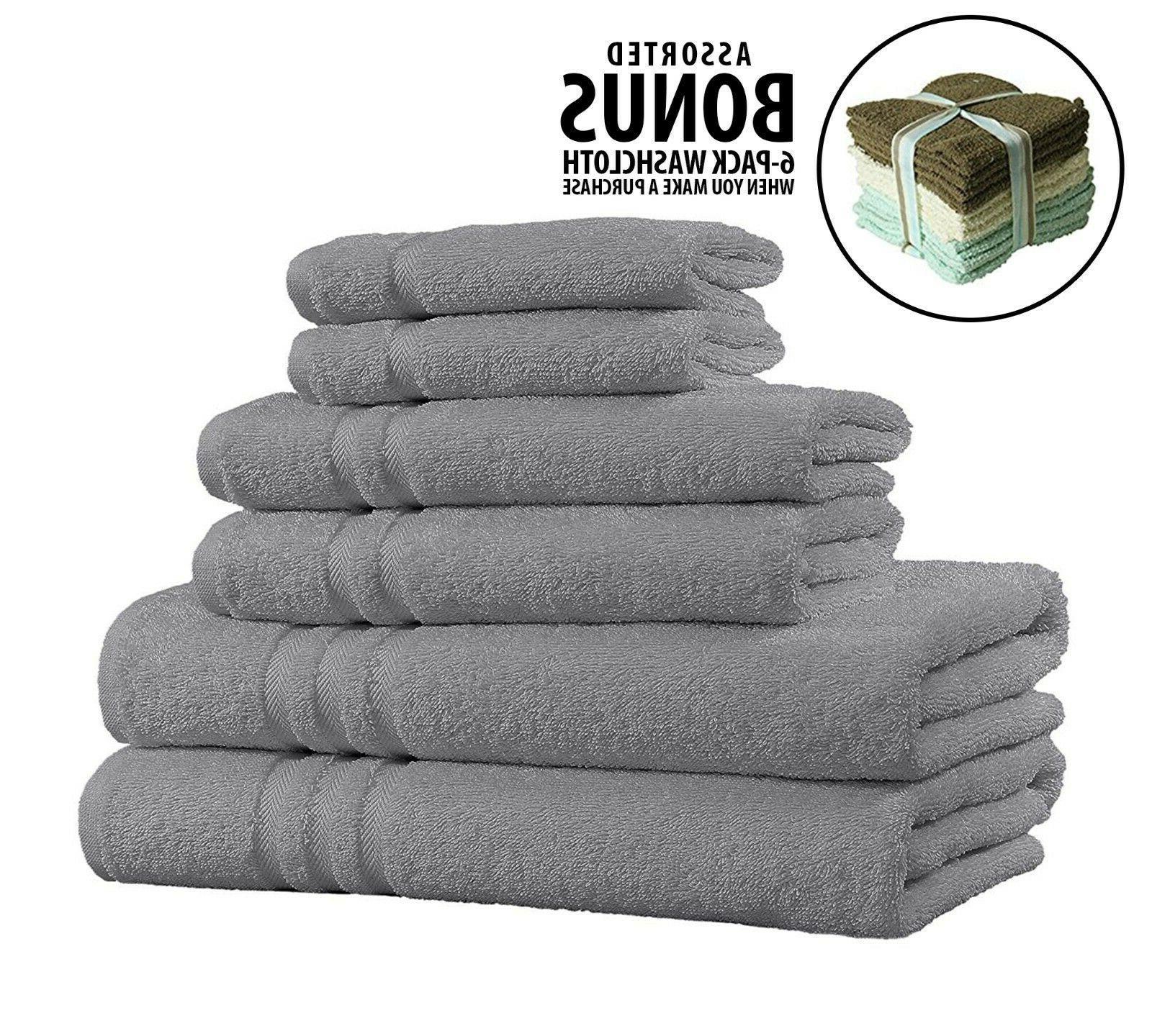 2//6//12pc 100/% Cotton Hand Towels Soft Absorbent Face Sheet Gym Bath Towels Set