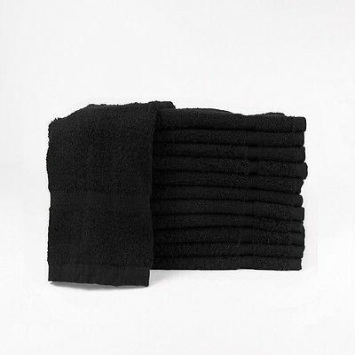 12  new black salon hand towels dobby border ringspun cotton
