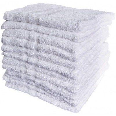 12 new white cotton hotel bath towels 22x44 royal regal  bra