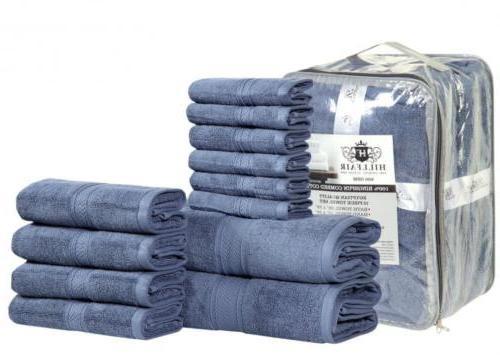 HILLFAIR 12 PIECE- 600 GSM Cotton Bath Towels Set - Hotel Sp