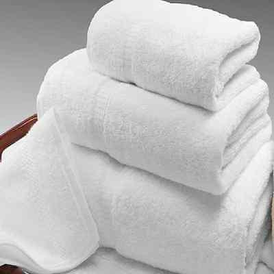 12 white cotton hotel bath towel jumbo 27x54  dobbby 17# ga