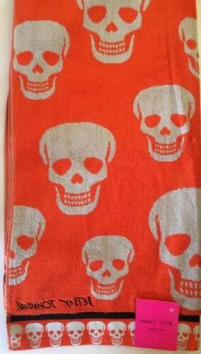 2 sugar skulls orange bath towels halloween
