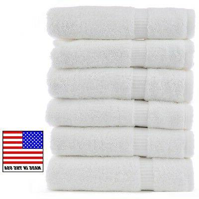 4 new white made in the usa bath towels 24x50 10#quality sal