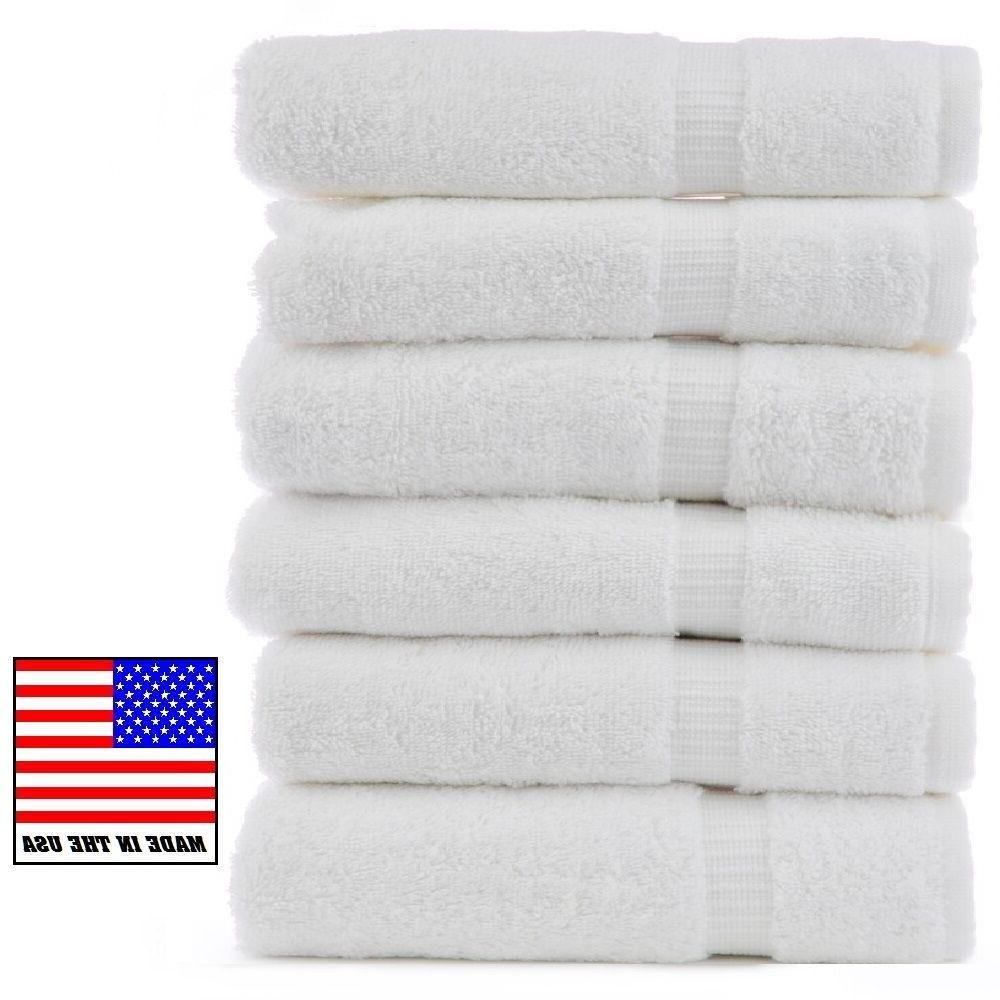 6 new white made in the usa bath towels 24x50 10# 1888 mills