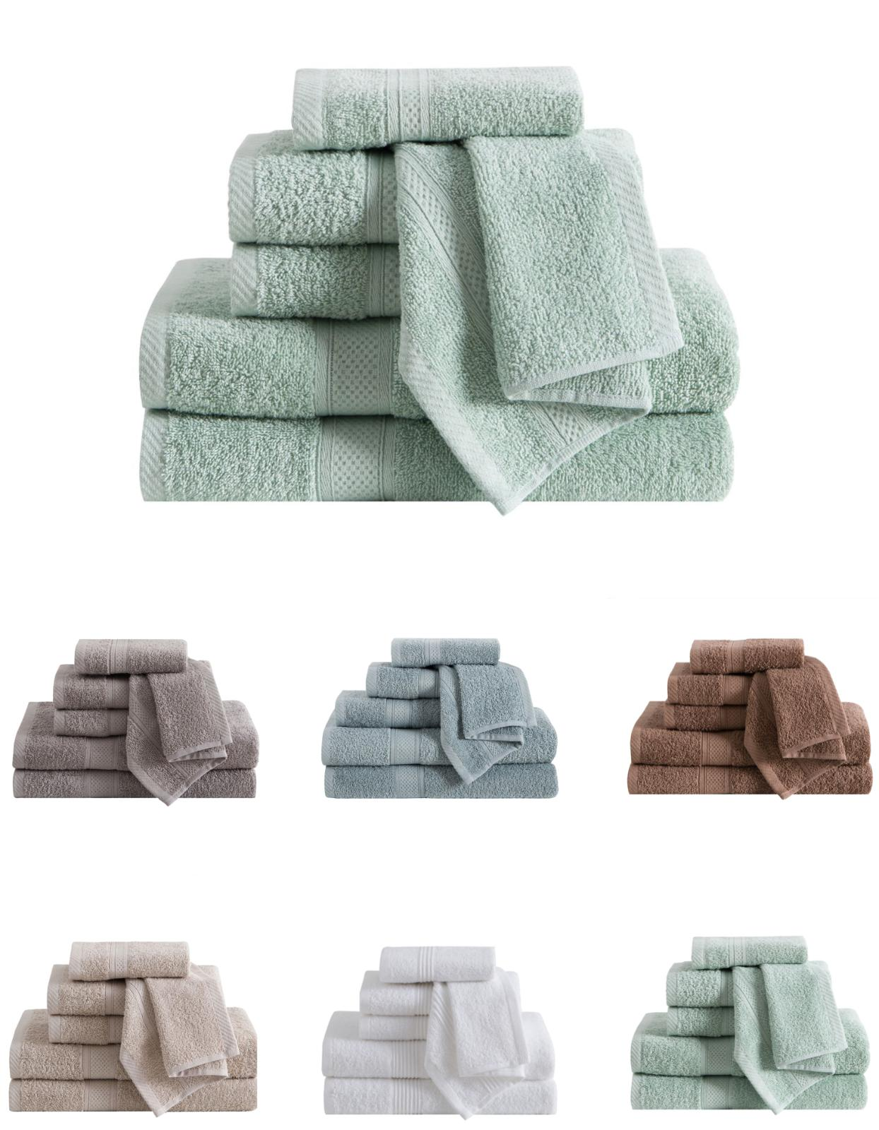 6 Pack: Ultra Luxurious Classic Dobby Cotton Bath Towel Set