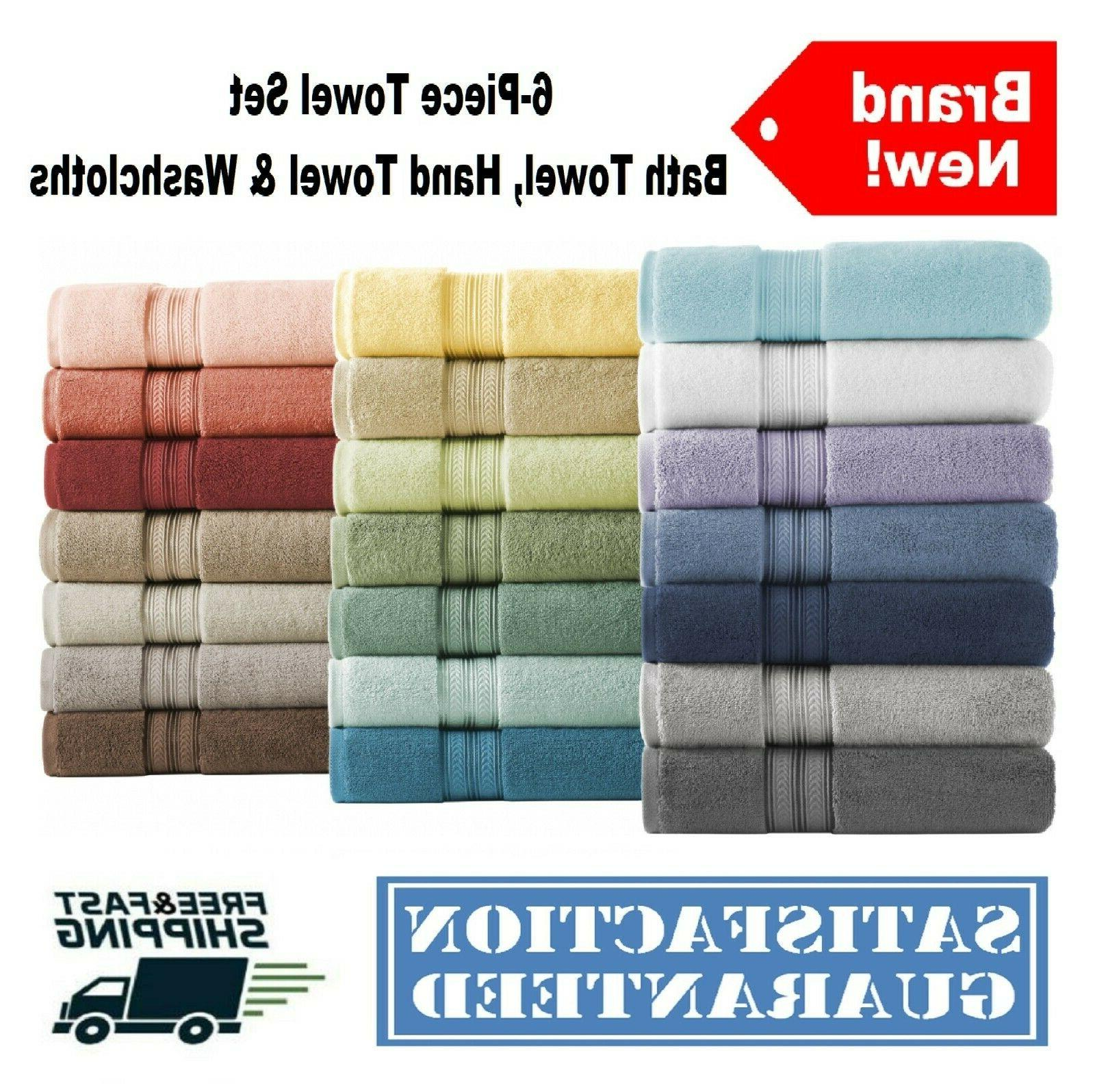 6-Piece Towel Textured Bath
