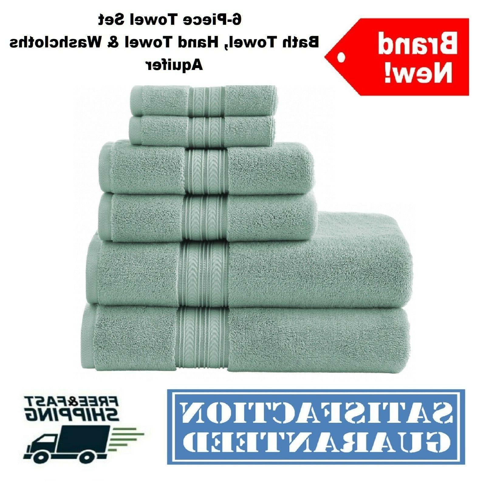 6-Piece Bath Hand Towels Washcloths Soft