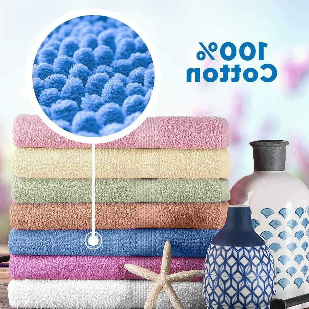 """7-Pack Bath Towels Extra-Absorbent 100% - 27"""" x"""
