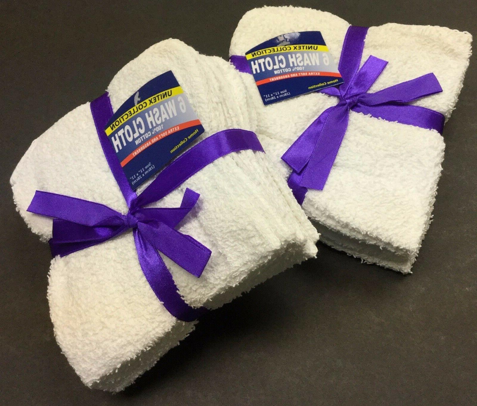 72 -Piece / 6 Dozens 100%  Cotton Washcloth Face Towels Size