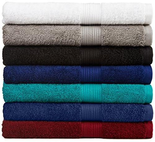 AmazonBasics Fade-Resistant Towel 6-Piece,