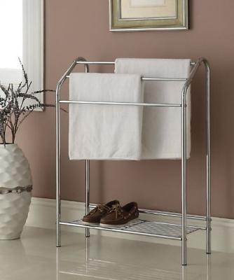 Chrome Finish Towel Bathroom Rack Stand Shelf