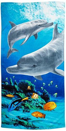 Kaufman Sales Tropical Dolphin 100% Cotton Beach Towel