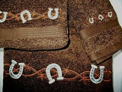 barb wire horseshoe dark brown color towels