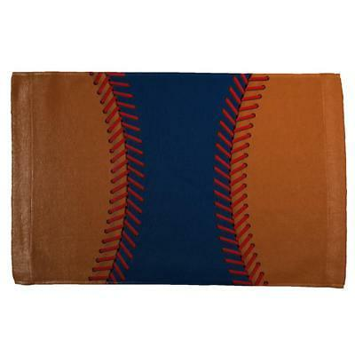 Baseball League Navy Blue and Orange All Over Sport Towel