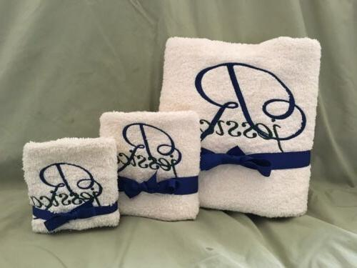BATH TOWEL SET BATHROOM MONOGRAMMED PERSONALIZED FREE SET OF