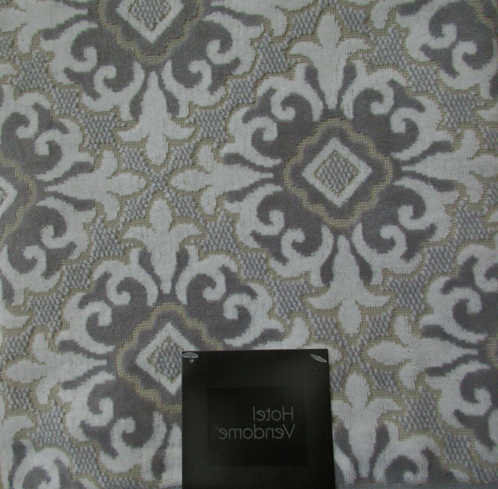 Hotel Vendome Bath Towels Gray+Beige Medallion/Filigree Luxu