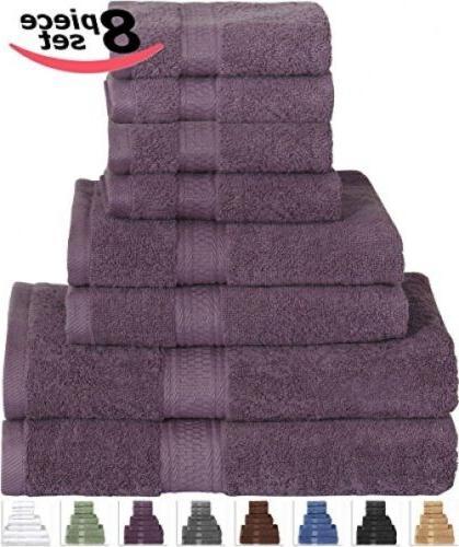 100% Hand 8p Bathroom Towel Set Violet