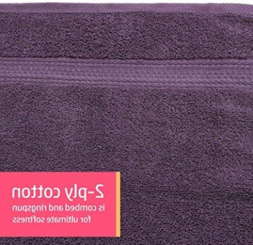 100% Hand Face 8p Bathroom Towel Set Violet