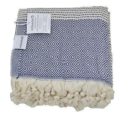 diamond weave turkish towel in navy blue
