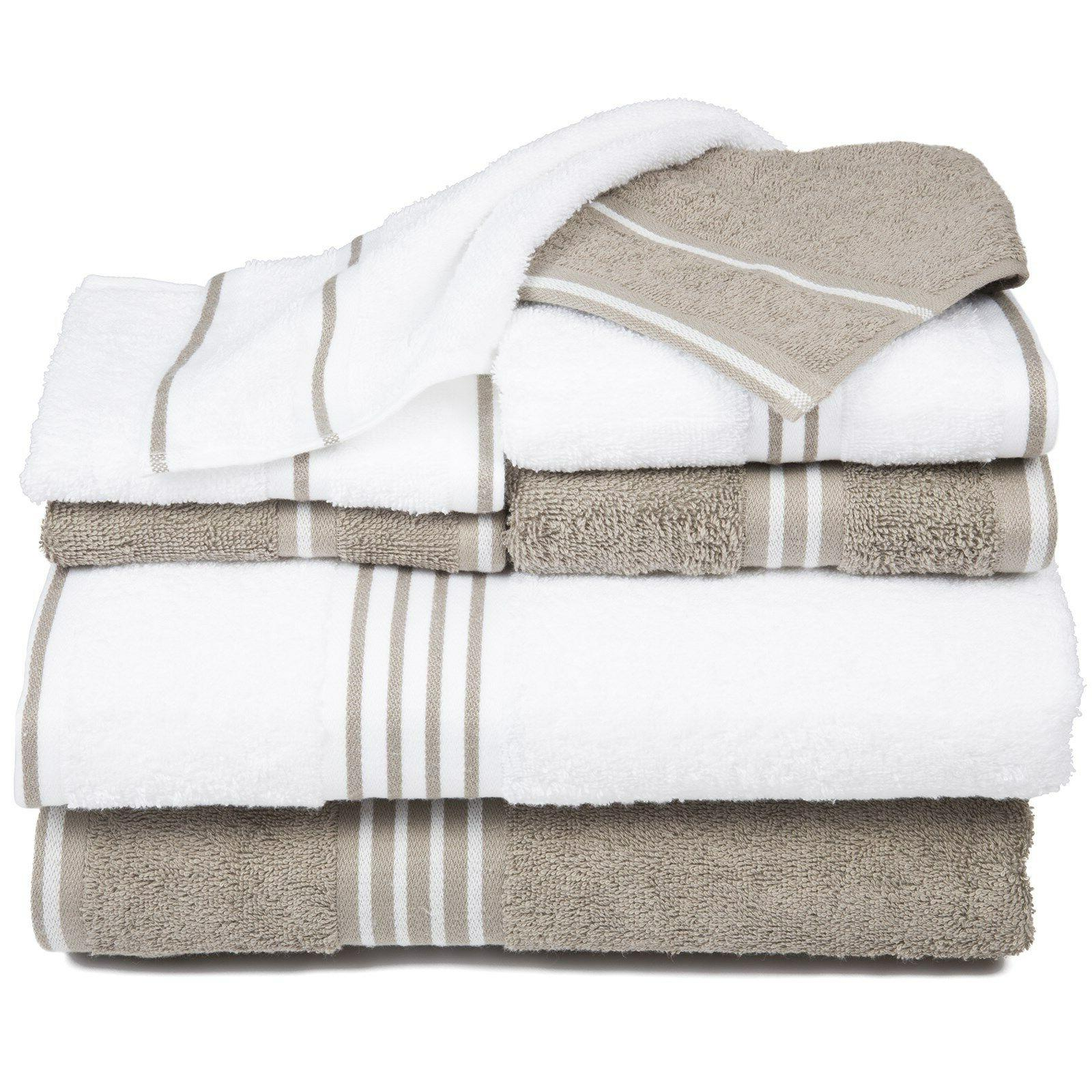 Lavish Home 8 Piece Egyptian Cotton Towel Set White and Taup