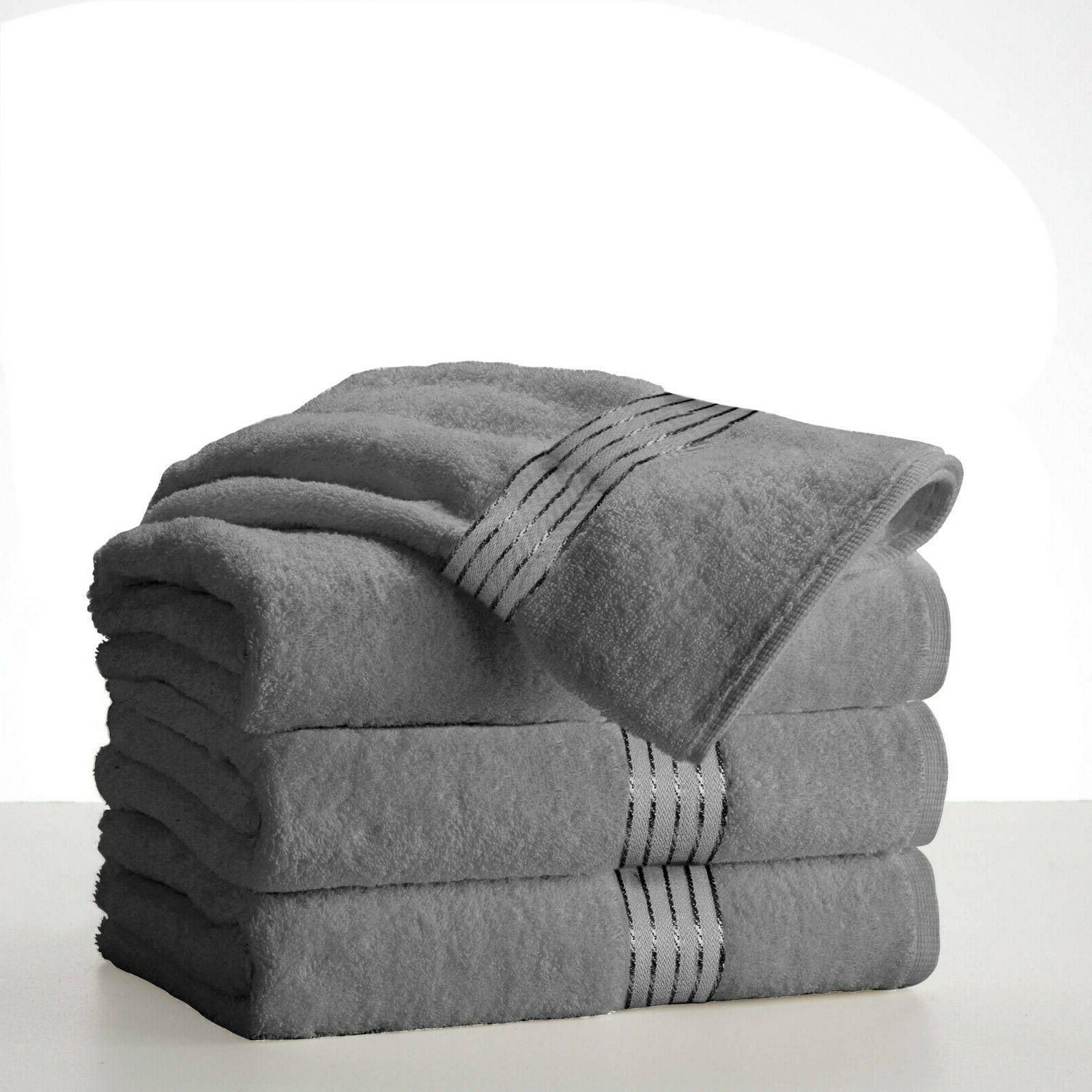 "Silver Grey Towels 100% Cotton 27""x58"" 450 Absorbent"