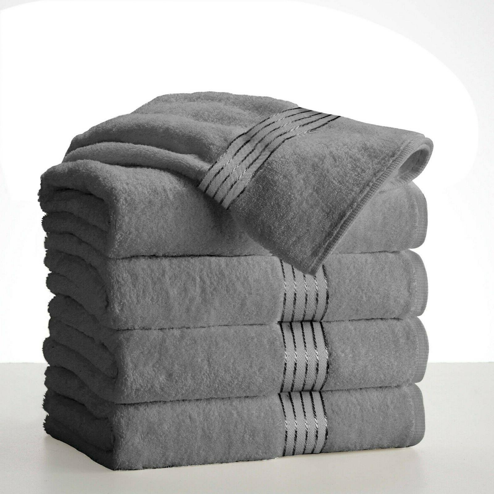 Silver Grey Towels Cotton Absorbent
