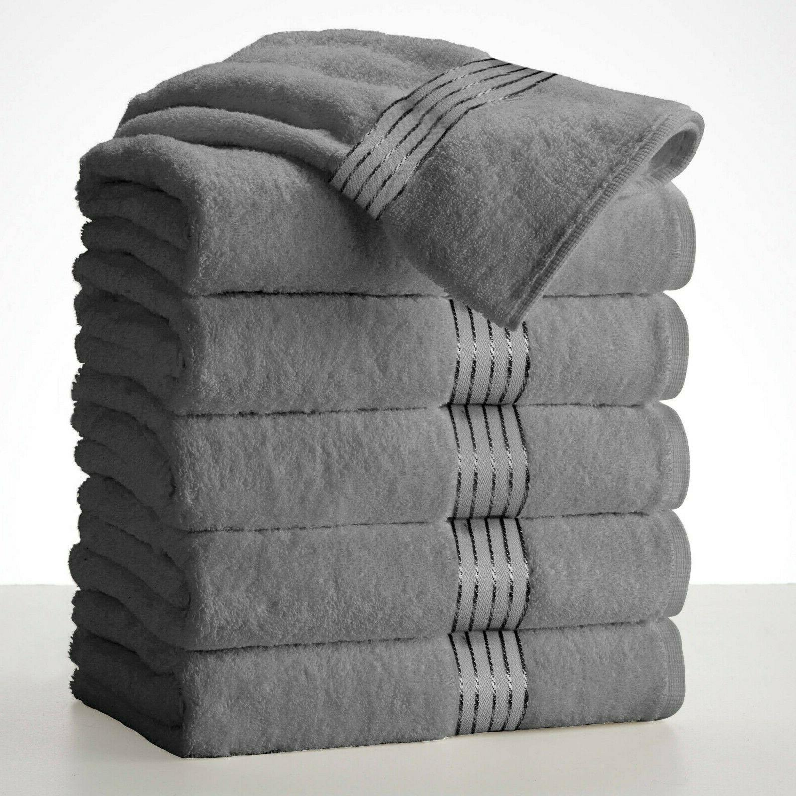 Silver Large Towels Packs Cotton Absorbent