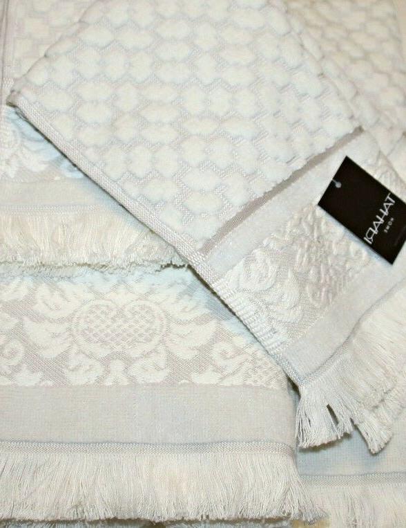 Tahari Home 100% Cotton Bath Fringe Towel Set, White-Off/Gre
