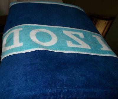 IZOD BEACH BATH TOWEL 100% COTTON 34 IN X 64 IN NAVY/BABY BL
