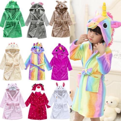 kids baby flannel hooded bath robe cartoon