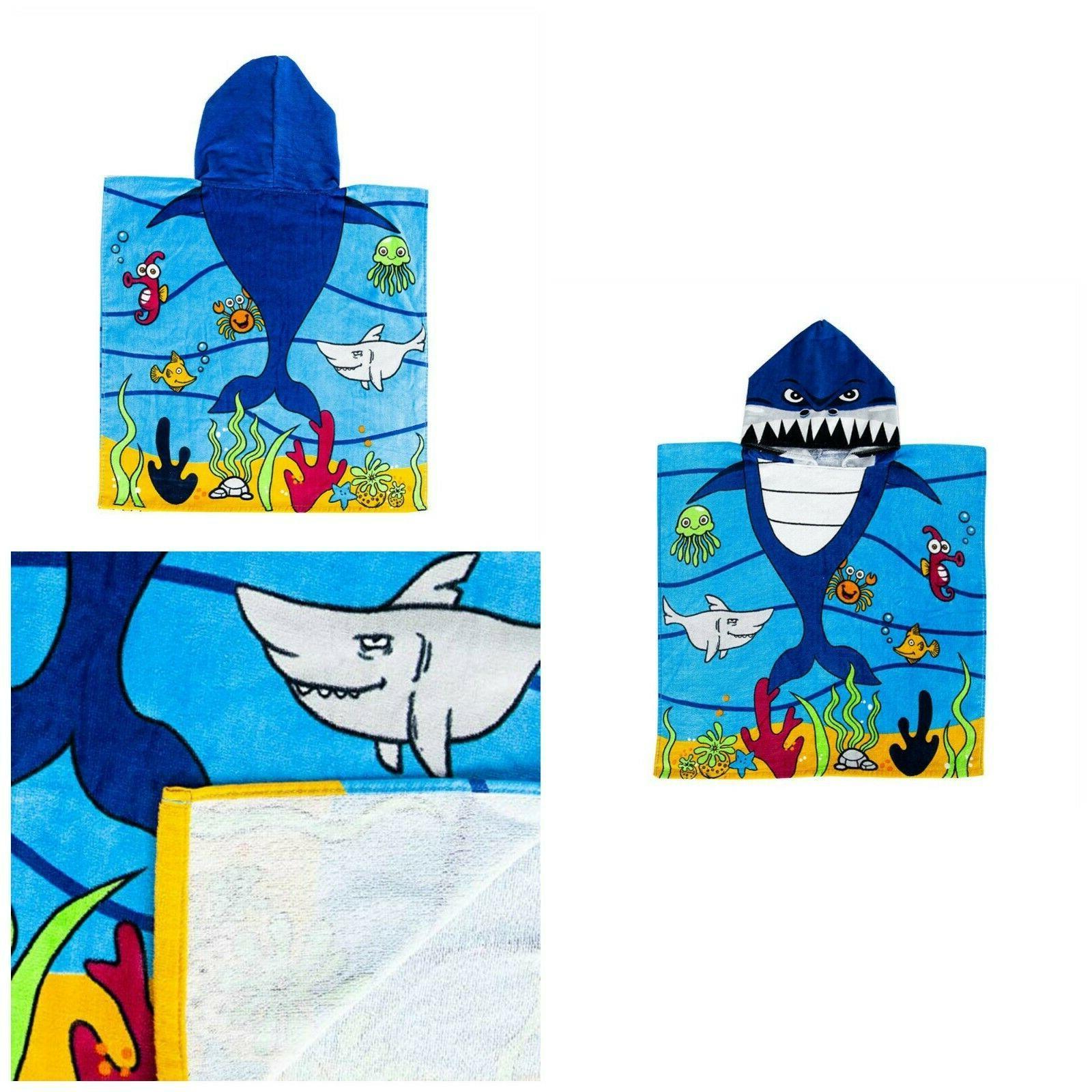 Kids Hooded Bath Towel Cotton Beach Pool Poncho Shark Absorb