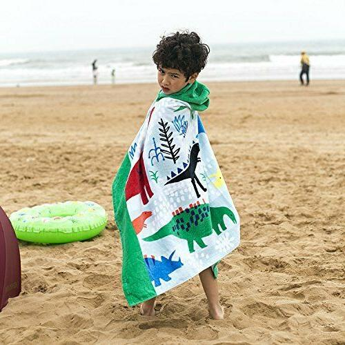 Bavilk Kids Poncho Dinosaur Bath Towel for / Boys