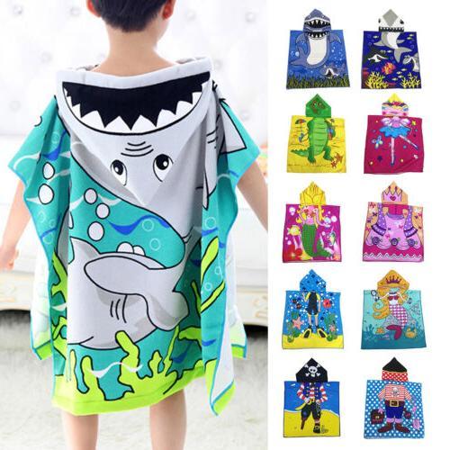 Kids Unisex Boy Girl Hooded Poncho Swim Beach Bath Towel Wea