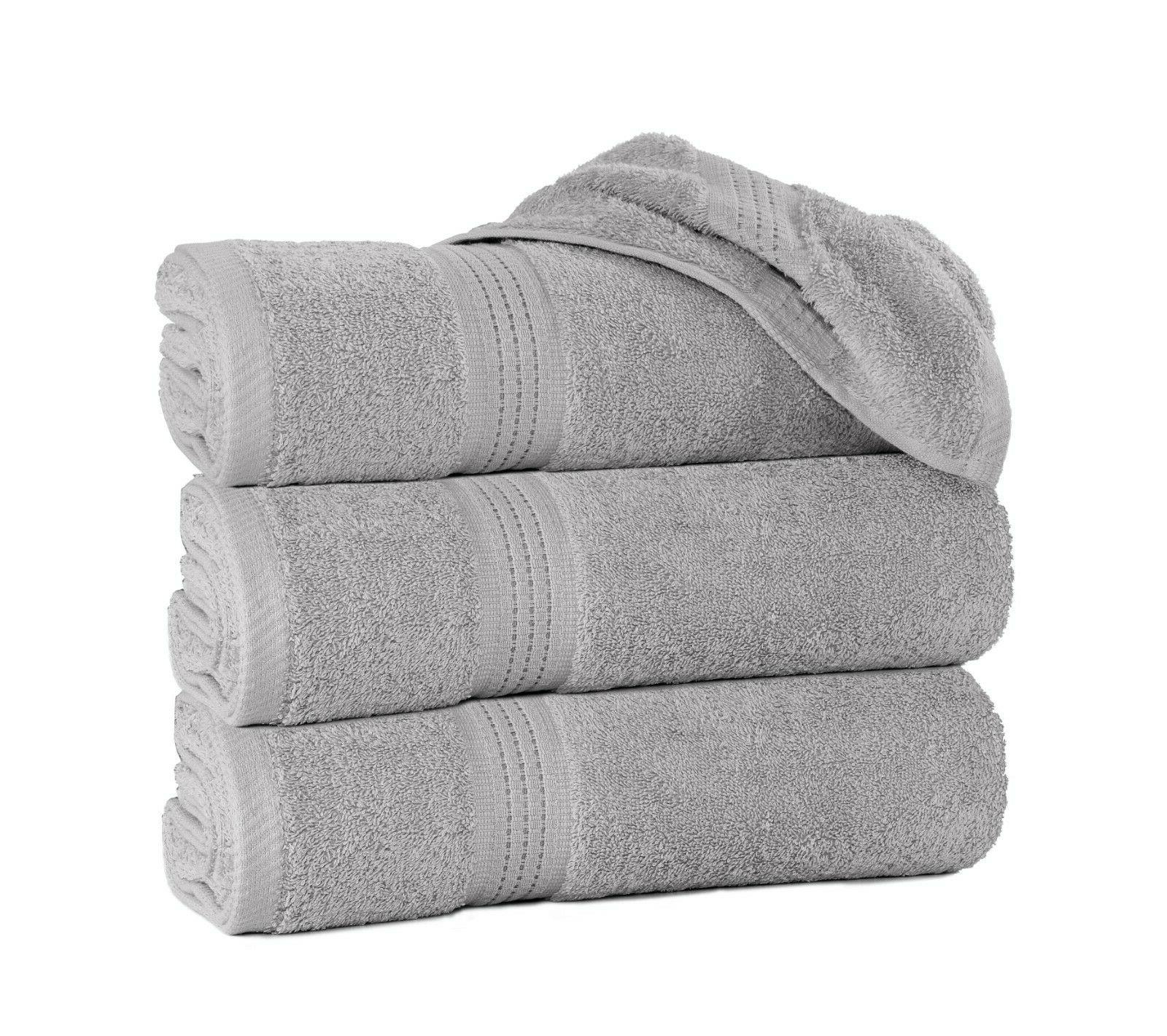 "Luxury Gray Bath Towels Cotton 27""x55"" Soft Grey"